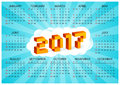 2017 calendar on a blue background in style of old 8-bit video games. Week starts from Sunday. Ð¡olorful 3D Pixel Letters
