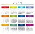 2019 Calendar with Boxes in Rainbow Colors 4 Columns - English