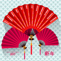 Calendar 2017 chinese fan on wave background. Lettering hieroglyphs translate: Happy New Year. Vector illustration Royalty Free Stock Photo