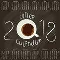 Calendar 2018 with Coffee