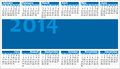 Calendar colorful illustration of year horizontal orientation Stock Images