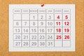 Calendar on corkboard Royalty Free Stock Photo
