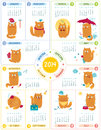 Calendar with cute cats vector personages on white backgroun Royalty Free Stock Images
