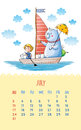 Calendar for with cute illustrations by hand july cartoon illustration bear and girl sail boat can be used like happy birthday Stock Images