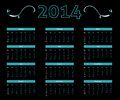 Calendar in dark style black with neon black and white Royalty Free Stock Images