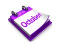 Calendar date is october at the tear off on a white background Stock Photos