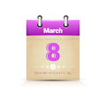 Calendar Date Page Woman Day 8 March