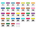 Calendar days icons colorful set of all monthly isolated on white background eps file available Royalty Free Stock Photo