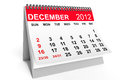 Calendar December 2012 Royalty Free Stock Photography