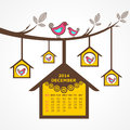 Calendar of december with birds sit on branch illustration Royalty Free Stock Image