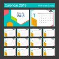 2018 Calendar. Desk Calendar modern design template.