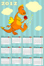 Calendar with dragon - symbol 2012 Royalty Free Stock Photos
