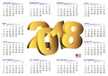 2018 calendar english horizontal USA