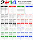 Calendar english templates for starts on monday Stock Images
