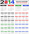 Calendar english templates for starts on monday Royalty Free Stock Photo