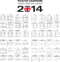 Calendar english templates for starts on sunday Royalty Free Stock Photo