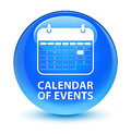 Calendar of events glassy cyan blue round button