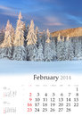 Calendar february beautiful winter landscape in the mountains Stock Image