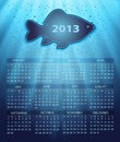 Calendar fish water blue background drops Royalty Free Stock Photo