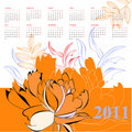Calendar with flowers for 2011 Stock Image