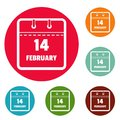 Calendar fourteenth february icons circle set vector Royalty Free Stock Photo