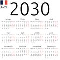 Calendar 2030, French, Monday Royalty Free Stock Photo