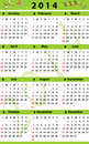 Calendar for with fresh green color and florish decorations Stock Photos