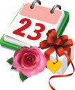 Calendar, gift  box and rose. Royalty Free Stock Photos