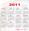 Calendar grid of 2011 year Royalty Free Stock Photos