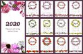 Calendar 2020 with hand drawn different flowers in sketch style. Set with floral wreaths and endless brushes for 12 month.