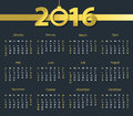 2016 calendar with hanging bell on dark blue background. Week starts with sunday Royalty Free Stock Photo
