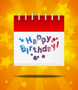 Calendar with happy birthday message Stock Images