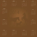 Calendar with horses against a dark background Royalty Free Stock Images