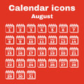 The calendar icon. August symbol. Flat Royalty Free Stock Photo