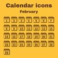 The calendar icon. February symbol. Flat Royalty Free Stock Photo