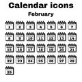 The calendar icon. February symbol. Flat Royalty Free Stock Photo