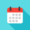 Calendar icon flat design isolated with long shadow