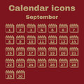 The calendar icon. September symbol. Flat Royalty Free Stock Photo