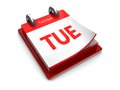 Calendar icon of tuesday tear off on a white background Royalty Free Stock Photography