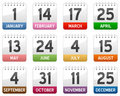 Calendar Icons Set Royalty Free Stock Photo
