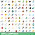 100 calendar icons set, isometric 3d style