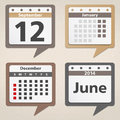 Calendar icons set of shaped as speech bubbles Stock Image