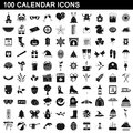 100 calendar icons set, simple style