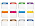 Calendar icons set of in various colors Stock Images