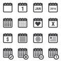 Calendar icons set on white background.
