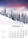 Calendar january beautiful winter landscape in the mountains Royalty Free Stock Photography