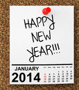 Calendar january on blank note paper with happy new year sign Royalty Free Stock Images