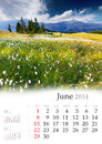Calendar june beautiful summer landscape in the mountains Royalty Free Stock Image