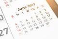 Calendar June 2017 page.