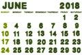 Calendar for June 2018 on white background